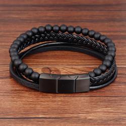 Keinonahkainen rannekoru, Natural Stone Faux Leather Bracelet