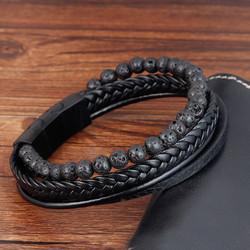 Keinonahkainen rannekoru, Lava Stone Faux Leather Bracelet