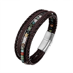 Keinonahkainen rannekoru, Brown Natural Stone Faux Leather Bracelet