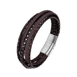 Keinonahkainen rannekoru, Brown Lava Stone Faux Leather Bracelet