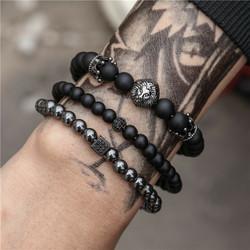 Luonnonkiviset rannekorut, Set of Three Natural Stone Bracelets