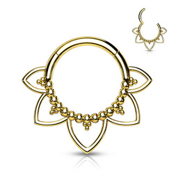Lävistysrengas, All 316L Surgical Steel Filigree Hoop Ring in Gold