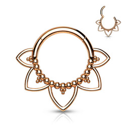 Lävistysrengas, All 316L Surgical Steel Filigree Hoop Ring in Rosegold