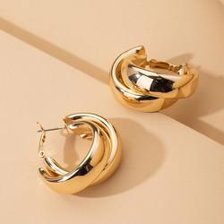 Korvakorut, FRENCH RIVIERA|Double Hoops in Gold -kullanväriset renkaat