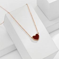 Kirurginteräskaulakoru, Red Heart Gold Necklace
