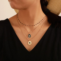 Kerroskaulakoru, FRENCH RIVIERA|Cross Layer Necklace in Gold