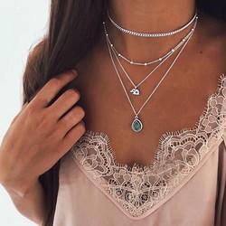 Kerroskaulakoru, FRENCH RIVIERA|Holiday Teardrop Necklace in Silver
