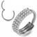 Lävistysrengas, Premium Triple Line CZ Segment Clicker in Steel