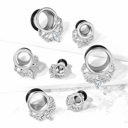 Tunneli 8mm, Marquise Crystal Vintage Filigree Drop