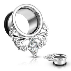Tunneli 10mm, Marquise Crystal Vintage Filigree Drop