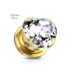 Plugi 8mm, Heart Zircon Prong Set Front in Gold