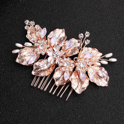 Hiuskoru, hiuskampa/ROMANCE, Rosegold Hairpiece with Leafs and Flowers