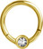 Lävistysrengas 1,2mm, Smiley Clicker 24K Gold PVD with crystals