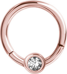 Lävistysrengas 1,2mm, Smiley Clicker Rosegold PVD with crystals