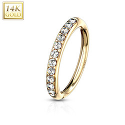 Lävistysrengas, 14K Gold CZ Paved Bendable Ring -kultarengas