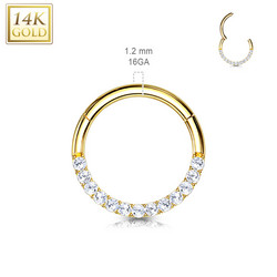 Lävistysrengas Ø8mm, 14K Gold CZ Front Facing Hinged Ring -kultarengas