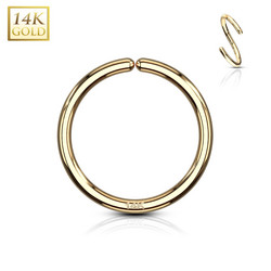 Lävistysrengas Ø8mm, 14K Gold Bendable Hoop Rings -kultarengas