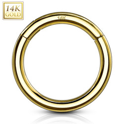 Lävistysrengas Ø8mm, High Quality 14K Gold Hinged Rings -kultarengas