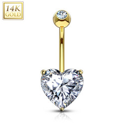 Napakoru, 14K Heart CZ Prong Set Navel Ring  -kultainen napakoru