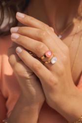 Sormus, BOHM PARIS|Bague Bea dorée gris rose patina
