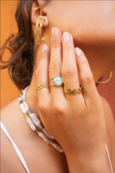 Sormus, BOHM PARIS|Bague Léa dorée avec mint crystal