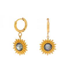 Korvakorut, BOHM PARIS|Boucles D'oreilles Soleil avec cristal gris