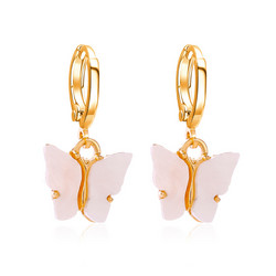Korvakorut, PAPARAZZI|Butterfly Hoops in Light Pink -perhosrenkaat