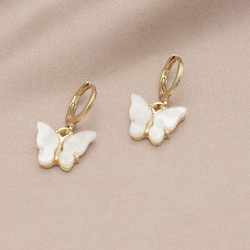 Korvakorut, PAPARAZZI|Butterfly Hoops in White -perhosrenkaat