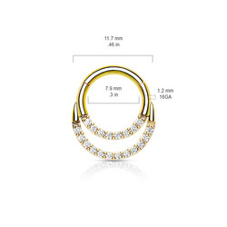 Lävistysrengas, High Quality Double Lined CZ Ring in Gold