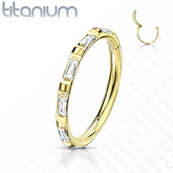 Lävistysrengas, Titanium Ring Rectangular Baguette CZ in Gold