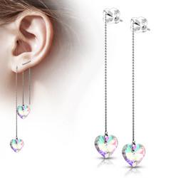 Kirurginteräksiset korvakorut, Free Hanging Threader Heart Earrings
