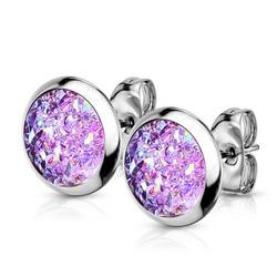 Kirurginteräsnapit, Small Druzy Stone in Purple