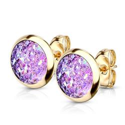 Kirurginteräsnapit, Small Gold Druzy Stone in Purple