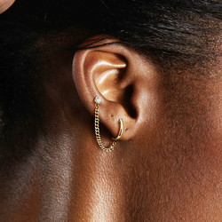 Rustokoru/korvakoru, Clicker Hoop Earring & Chain with Barbel in Gold