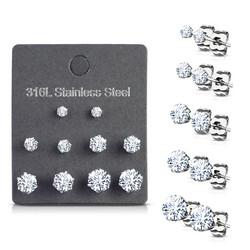 Kirurginteräksinen nappisetti, CZ Stainless Steel Earrings