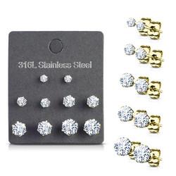 Kirurginteräksinen nappisetti, CZ Stainless Steel Earrings in Gold