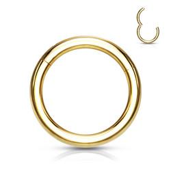 Lävistysrengas 1mm, Titanium Clicker in Gold