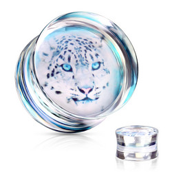Plugi 10mm, Cheetah Print Clear Acrylic Saddle Plug