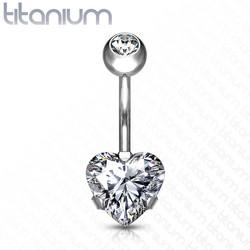 Napakoru, Implant Grade Titanium Prong Set Heart CZ in Clear