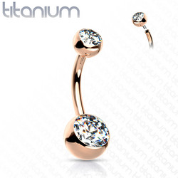 Napakoru, Implant Grade Titanium Crystal Belly Button in Rosegold