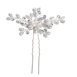 Hiuskoru, ATHENA BRIDAL|Silver Hairpin with Pearls