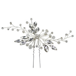 Hiuskoru, ATHENA BRIDAL|Silver Hairpin with Crystal Leafs