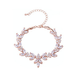 Rannekoru, ATHENA BRIDAL|Elegant Cubic Zirconia Bracelet in Rosegold