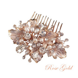 Hiuskoru, ATHENA BRIDAL|Beautiful Natural Pearl Haircomb in Rosegold