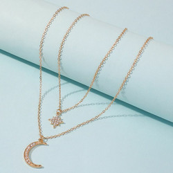 Kerroskaulakoru, FRENCH RIVIERA|Double Layer Moon Necklace in Gold
