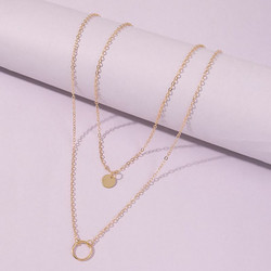 Kerroskaulakoru, FRENCH RIVIERA|Double Layer Circle Necklace in Gold