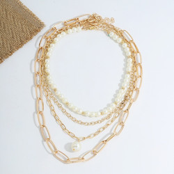 Kaulakorusetti, FRENCH RIVIERA|Chunky Pearl Necklace in Gold