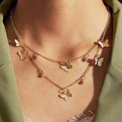Kerroskaulakoru, FRENCH RIVIERA|Butterfly Layer Necklace in Gold