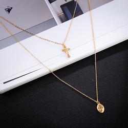 Kerroskaulakoru, FRENCH RIVIERA|Double Layer Cross Necklace in Gold