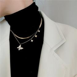 Kirurginteräskaulakoru|Double Layer Butterfly Necklace
